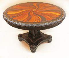 Anglo Indian Ceylonese Ebony and Specimen Wood Centre Table - 1924945