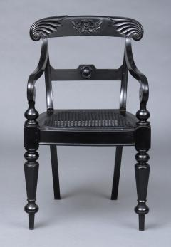 Anglo Indian Robustly Carved Ebony Armchair Circa 1840 - 120227
