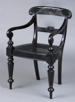 Anglo Indian Robustly Carved Ebony Armchair Circa 1840 - 120228