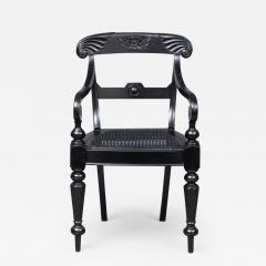 Anglo Indian Robustly Carved Ebony Armchair Circa 1840 - 122309