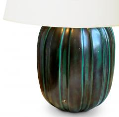 Anna Lisa Thomson Table lamp with Sculpted Fluting and Teal Glaze by Anna Lisa Thomson for Ekeby - 1231204