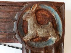 Anna Vaughn Hyatt Huntington Carved Oak Wood Arts and Crafts Frame with Rabbit Dog Bird Emu Carvings - 1165525