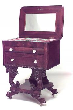 Anthony Quervelle American Empire Mahogany Flip Top Sewing Table - 741166