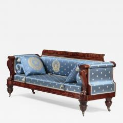 Anthony Quervelle Rosewood Inlaid Carved Mahogany Sofa - 751075