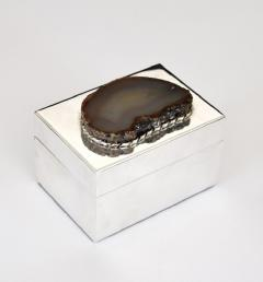 Anthony Redmile ANTHONY REDMILE SILVER PLATE BOX WITH AGATE TOP LONDON CIRCA 1970 - 1672589