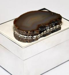 Anthony Redmile ANTHONY REDMILE SILVER PLATE BOX WITH AGATE TOP LONDON CIRCA 1970 - 1672610