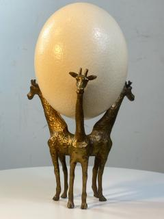 Anthony Redmile BRASS GIRAFFE AND OSTRICH EGG SCULPTURE IN THE MANNER OF ANTHONY REDMILE - 1851483