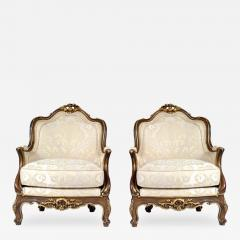 Antique 1880s Pair of Louis XV Style Carved Berg res italy - 173880