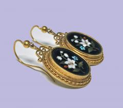 Antique 18K Pietra Dura Earrings C 1875 - 1177765