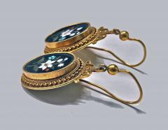 Antique 18K Pietra Dura Earrings C 1875 - 1177766