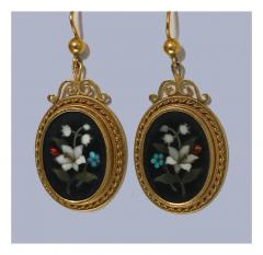 Antique 18K Pietra Dura Earrings C 1875 - 1177767