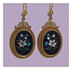 Antique 18K Pietra Dura Earrings C 1875 - 1177771