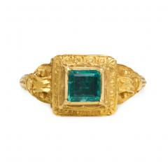 Antique 18th Century Engraved Gold and Emerald Renaissance Revival Ring - 1688461