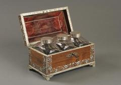 Antique 18th Century Indian Vizag Padouk Tea Caddy Chest With Ivory Inlays - 1267878