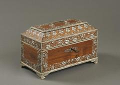 Antique 18th Century Indian Vizag Padouk Tea Caddy Chest With Ivory Inlays - 1267879