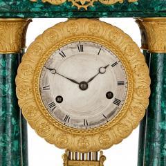 Antique 19th Century Bourbon Restauration Malachite and Gilt Bronze Mantel Clock - 1937759