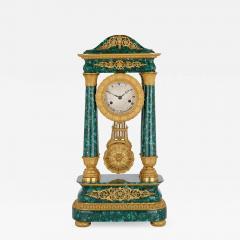 Antique 19th Century Bourbon Restauration Malachite and Gilt Bronze Mantel Clock - 1938365