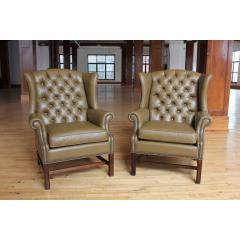 Antique American Library Tufted Leather Wing Chair - 1365092
