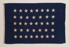 Antique American U S Navy Jack with 38 Hand Sewn Stars and a Rare Makers Mark - 671632