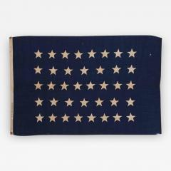 Antique American U S Navy Jack with 38 Hand Sewn Stars and a Rare Makers Mark - 672135