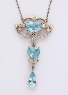 Antique Aquamarine and Diamond Necklace - 1808349