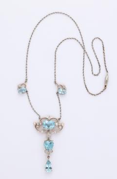 Antique Aquamarine and Diamond Necklace - 1808350