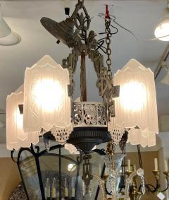 Antique Art Deco 5 Light Chandelier - 1999870