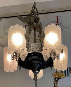 Antique Art Deco 5 Light Chandelier - 1999878