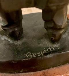 Antique Art Deco Hungarian Bronze Sculpture the Scholar by Laslo Janos Beszedes - 2076613