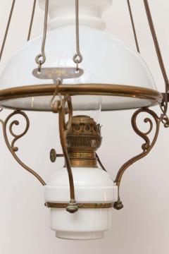 Antique Art Nouveau French Milk Glass and Brass Hall Lantern - 1792887