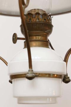 Antique Art Nouveau French Milk Glass and Brass Hall Lantern - 1792888