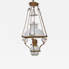Antique Art Nouveau French Milk Glass and Brass Hall Lantern - 1797596