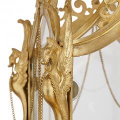 Antique Baroque Style Glass and Gilt Bronze Lantern - 2022769