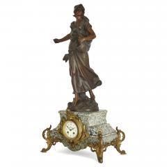 Antique Belle poque Sculptural Three Piece Clock Set after Auguste Moreau - 1954747