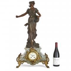 Antique Belle poque Sculptural Three Piece Clock Set after Auguste Moreau - 1954748