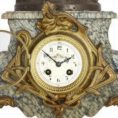 Antique Belle poque Sculptural Three Piece Clock Set after Auguste Moreau - 1954752