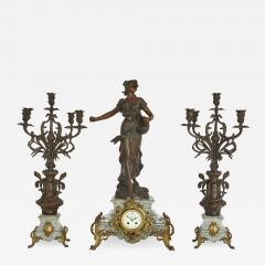 Antique Belle poque Sculptural Three Piece Clock Set after Auguste Moreau - 1957144