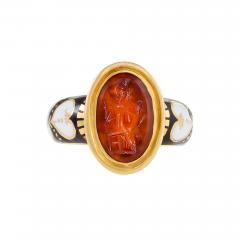 Antique Black White Enamel and Gold Ring featuring a Red Intaglio Carving - 1050862