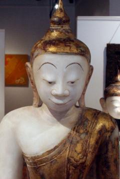 Antique Burmese White Marble Buddha Statue - 88615