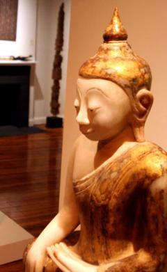 Antique Burmese White Marble Buddha Statue - 88616