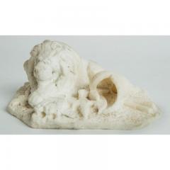 Antique Carved Alabaster Lion Paper Weight Sculpture - 1545643