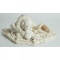 Antique Carved Alabaster Lion Paper Weight Sculpture - 1545645