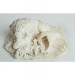 Antique Carved Alabaster Lion Paper Weight Sculpture - 1545646