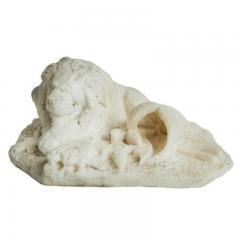 Antique Carved Alabaster Lion Paper Weight Sculpture - 1545648