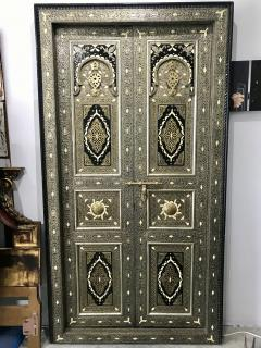 Antique Carved Moroccan Door With Camel Bone and Brass - 1635593