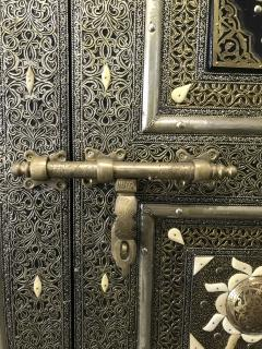Antique Carved Moroccan Door With Camel Bone and Brass - 1635597