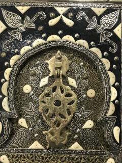 Antique Carved Moroccan Door With Camel Bone and Brass - 1635598