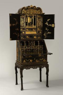 Antique Chinese Export Lacquer Bureau Cabinet in Three Sections - 1258391