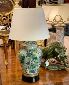 Antique Chinese Famille Verde Chinoiserie Porcelain Lamp With Custom Shade - 1999903