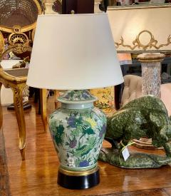 Antique Chinese Famille Verde Chinoiserie Porcelain Lamp With Custom Shade - 1999904